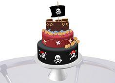 Caveirinhas, moedinhas, o mapa do tesouro e até mesmo um lindo navio pirata podem ser usados na decoração do bolo de aniversário