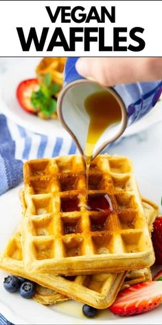 You are going to love these classic vegan waffles! They are super quick and easy to make and they are golden and crispy on the outside and perfectly fluffy on the inside. We love them as breakfast and dessert! Delicious Breakfast Recipes, Brunch Recipes, Sweet Recipes, Yummy Food, Dairy Free Recipes, Vegan Recipes, Vegan Soups, Vegetarian Brunch, Easy Smoothies