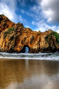 CALIFORNIA: PFEIFFER BEACH STATE PARK  This Big Sur beach is known for its purple sand, stunning stone arches and crashing waves. (Serenity now.)  RELATED: America's Best Beach Towns      The Most Beautiful Spot in Every U.S. State via @PureWow