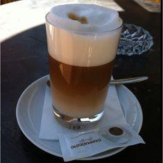 Toffee latte in the sun. Toffee, Latte, Bliss, Good Things, Sun, Tableware, Gourmet, Salt Water Taffy, Coffee Milk