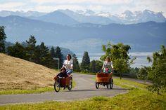 Les ballades en vélo en famille, c'est possible y compris à la montagne, grâce à la gamme de Babboe Mountain ! En vente sur www.hollandbikes.com