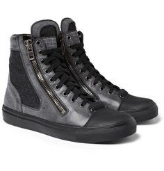 Maison Martin MargielaLeather and Wool High Top Sneakers|MR PORTER