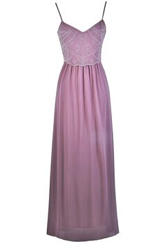 Lily Boutique Pearl of Wisdom Embellished Chiffon Maxi Dress in Lilac, $44 Lilac Purple Pearl Maxi Dress | Pearl Boho Prom Dress | www.lilyboutique.com