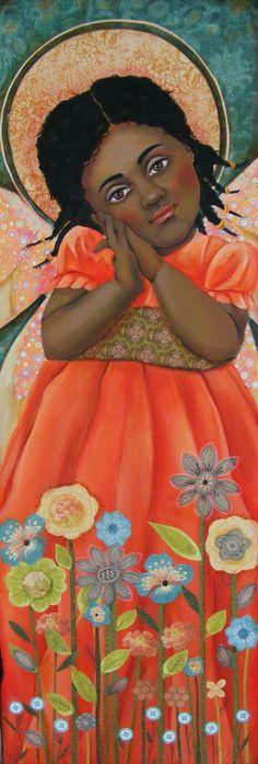 Black Folk Art Angel Painting