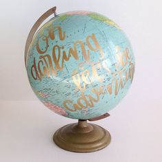 Hand Lettered Vintage Globe by FullQuiverDesigns on Etsy