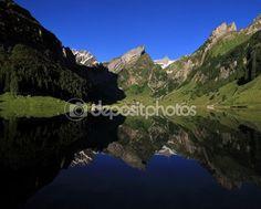 Alpstein Range mirroring in lake Seealpsee — Stock Photo © Perreten Free Summer, Landscapes, Range, Stock Photos, Mountains, Mirror, Illustration, Travel, Paisajes