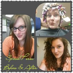 Before and After of a good Spiral Perm – Sindy Kittel - Perm Hair Styles Wavy Perm, Wavy Hair, New Hair, Your Hair, Perms Before And After, Medium Permed Hairstyles, Permanent Waves, Different Types Of Curls, Getting A Perm