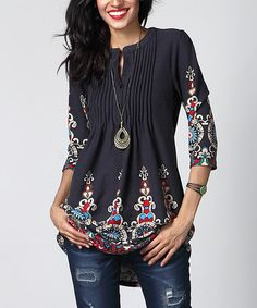 Take a look at this Reborn Collection Navy Medallion Notch Neck Pin Tuck Tunic today!