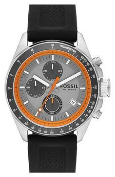 Fossil 'Decker' Chronograph Silicone Strap Watch, 44mm   Nordstrom