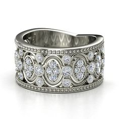 14K White Gold Ring with Diamond | Renaissance Band | Gemvara | This wide band ring draws inspiration from the intricate stonework of Renaissance cathedrals. The band narrows in back to make it comfortable enough to wear everyday.