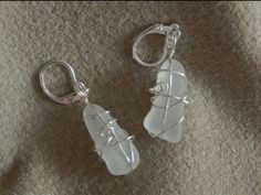 sea glass earrings - nickel free, 925 silver plated hooks Sea Glass Jewelry, Glass Earrings, Glass Beads, Hand Wrap, 925 Silver, Hooks, Silver Plate, Personalized Items, Crystals