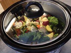 Slow Cooker Roasted Vegetables - damp veggies in crockpot (1c each broccoli, zucchini, carrots, potatoes, cauliflower; 1/2c onion); 2t OO, sprinkle with seasoning salt; mix; LOW 4 hours, stir each hour.