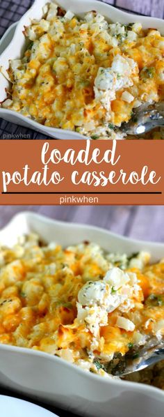 A delicious and easy loaded potato casserole recipe that is awesome as a side or even by itself!