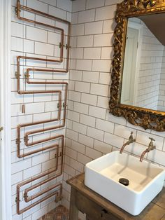 Copper towel rail