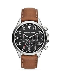 Michael Kors Men's Luggage Leather Gage Chronograph Watch, 45mm | Bloomingdale's