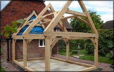 Oak Frames Fabricated to your Specifications Garage Extension, Cottage Extension, House Extension Design, House Design, Garden Room Extensions, House Extensions, Oak Framed Extensions, Oak Framed Buildings, Carpentry And Joinery