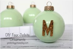 Get the look of vintage jadeite with these DIY Jadeite Ornaments from http://yesterdayontuesday.com