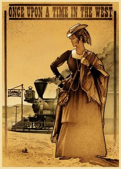 """Illustration for the 1968 movie """"Once Upon a Time in the West,"""" showing the beautiful Claudia Cardinale in the character of Jill McBain. As I remember she kept a small pistol in her purse. Western Film, Western Movies, Claudia Cardinale, Martin Scorsese, Alfred Hitchcock, Stanley Kubrick, Renoir, Westerns, Sergio Leone"""
