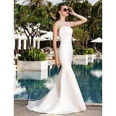 Lanting+Bride®+Syrena+Drobna+/+Rozmiar+Plus+Suknia+ślubna+Prostě+fantastické+Tren+sweep+Łódeczka+Satyna+/+Tiul+z+–+EUR+€+88.19