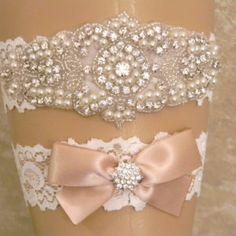 Champagne Wedding Garter Set, Bridal Garter, Pearl and Rhinestone Garter and Toss Garter Set, Light Ivory Lace Garter Set, Lace Garters
