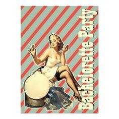 retro vintage pinup bachelorette party invitations