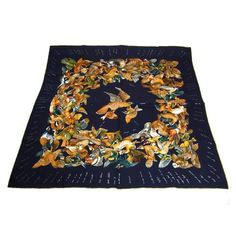 Authentic Hermes Carre Scarf Handkerchief Silk 100 Navy Vintage Good R06965    eBay c2de9c6b103