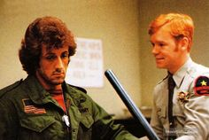 A gallery of First Blood publicity stills and other photos. Featuring Sylvester Stallone, Brian Dennehy, Richard Crenna, Jack Starrett and others. Brian Dennehy, David Caruso, First Blood, Sylvester Stallone, Film, Movies, Cops, Photos, Men