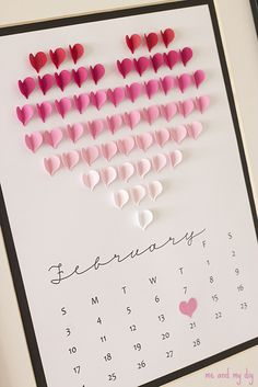 February Ombre Heart Calendar and Free Downloadables at Me and My DIY - I would love to do this heart on a card!