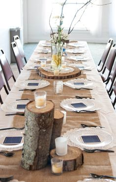 Burlap Table Runner, made by Little Byrd Shop on Etsy. With cut tree stumps and doily accents. Credit: LittleByrdShop