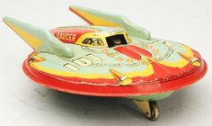 1950s tin litho friction flying saucer toy Vintage Robots, Vintage Ads, Space Toys, Flying Saucer, Tin Toys, Retro Futurism, Classic Toys, Antique Toys, Ufo