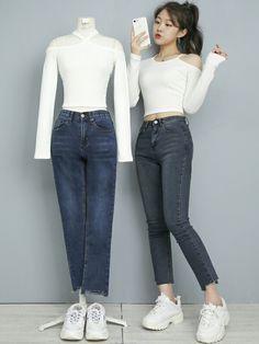 Korean Girl Fashion, Ulzzang Fashion, Kpop Fashion Outfits, Korea Fashion, Cute Fashion, Cute Comfy Outfits, Cute Girl Outfits, Korean Fashionista, Girls Frock Design