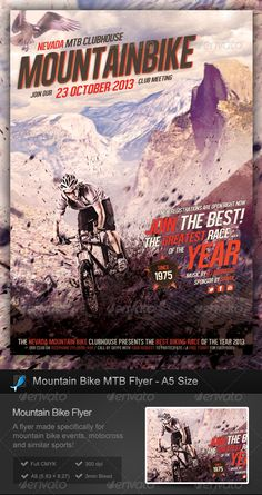 Mountain Bike / MTB Flyer A5 Size  #GraphicRiver         Mountain Bike / MTB Flyer A5 Size   This is a flyer specifically designed for mountain bike (MTB, mountain biking) or similar sports like off-road racing, motocross etc.   The free font used is called Alégre Sans, you can get it here:   .dafont /alegre-sans-nc.font  This is an A5 size flyer, which means 5.83×8.27 inches, or 148.5×210 millimiters. It has a 3mm bleed and its size in pixels is 1819×2551. The resolution is 300 ppi. The…