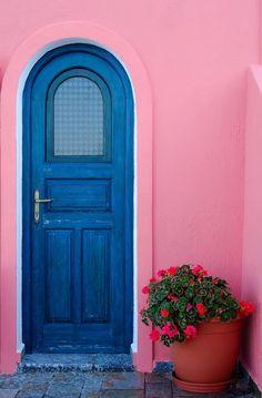 Blue door with pink flowers