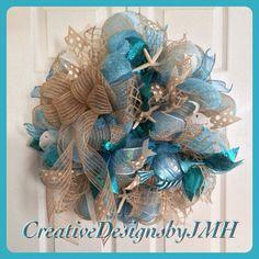 Seashore Deco Mesh Wreath by CreativeDesignsJMH on Etsy, $80.00