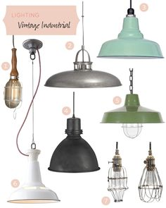 1.Edison Cage Light, $58 2.Victory Pendant Lamp, $149 3.Ivanhoe Union Warehouse Porcelain Pendant, $159 4.Emmett Pendant Light, $329 5.Small Vintage Pendant, $175 6.Factory Light No. 4 Cable, $259 7.Workshop Cage Lights, $225