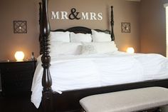 Mr & Mrs above the bed.