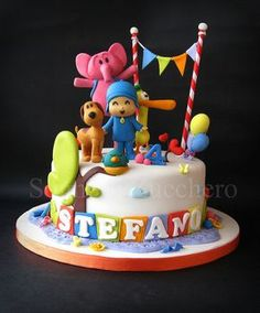pocoyo by Sogni di Zucchero, via Flickr Boys 1st Birthday Party Ideas, Baby Birthday Cakes, 1st Boy Birthday, Cake Pocoyo, Beautiful Cakes, Amazing Cakes, Lalaloopsy, Cake Decorating Techniques, Cakes For Boys