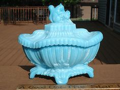 Portieux Vallerysthal Blue Opaline Milk Glass Squirrel Covered Dish Trinket Box