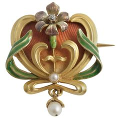 Enamel Flower Brooch | From a unique collection of vintage brooches at http://www.1stdibs.com/jewelry/brooches/brooches/