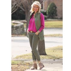 Our Explorer Vest & Ditsy Skinnies with a vintage blouse! LOVE it with our locket & these may be the cutest shoes EVER! They are Vince Camuto & come in 3 colors! I bought this color back in January & can't get over how much I love them! www.stephaniemill.cabionline.com