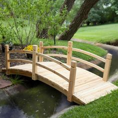 Classic 6-Ft Garden Bridge in Unfinished Fir Wood-Outdoor > Garden Bridges-Loluxe