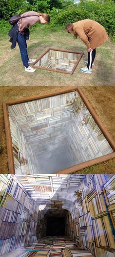 "Susanna Hesselberg, Sculpture by the Sea, ""When My Father Died It Was Like a Whole Library Had Burned Down"" Infinity mirror? Land Art, Vitrine Design, Instalation Art, Sea Sculpture, Infinity Mirror, 3d Street Art, Colossal Art, Wow Art, Public Art"