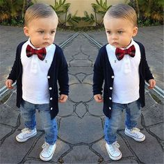 3PCS Kids Baby Boy Clothes Jacket + T-shirt + Pants Jeans + Bow Tie Outfit 2-7T