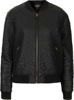 Faux Leather Croc Bomber on shopstyle.com