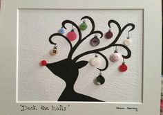 Rudolph Button baubles & acrylic painting by ButtonMoonArtCrafts