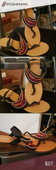 Beautiful Nicole  Simpson beaded sandals Beautiful Nicole Simpson beaded sandals. Size 8.5.  Never worn.  Adorable sandals. Nicole Simpson Shoes Sandals