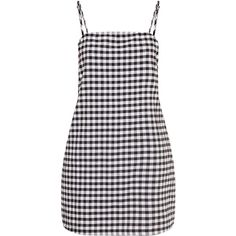 Raye Black Gingham Woven Shift Dress (620 MXN) ❤ liked on Polyvore featuring dresses, one piece, vestidos, gingham print dress, shift dress, braid dress, woven dress and gingham dress