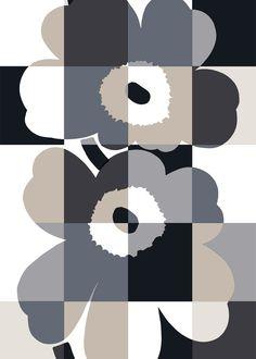 Iso Ruutu-Unikko HW cotton fabric by Marimekko Textile Patterns, Textile Design, Print Patterns, Floral Patterns, Marimekko Fabric, Scandinavia Design, African Textiles, Illustration, Monochrom