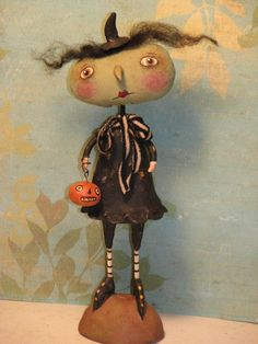 Primitive Halloween Witch with Pumpkin .........Clay and Cloth Art Doll