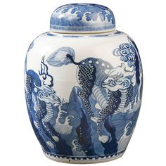 Chinese Blue and White Covered Porcelain Vase  China  Qing Dynasty, 17th/18th Century  The Vase is Decorated Allover with Mythical Composite Animals (Qilin) with Heads of Dragons, Tails of Lions, Scales of Fish on one Side, and on the obverse, The Heads of Sheep, Tails of Lions, Wings of a Bird and Body of a Deer.
